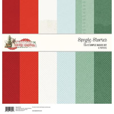 Simple Stories Country Christmas Designpapier - Paper Pack