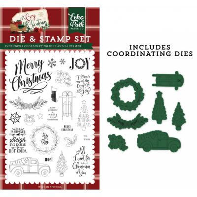 Echo Park A Cozy Christmas Clear Stamps und Outline-Stanzschablonen - Let's Get Cozy