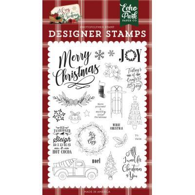 Echo Park A Cozy Christmas Clear Stamps - Merry Christmas