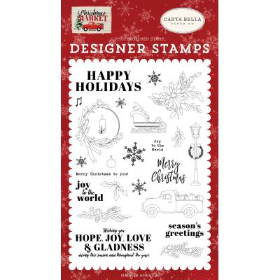 Carta Bella Christmas Market Clear Stamps - Happy Holidays