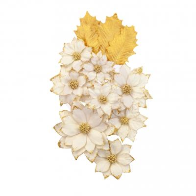 Prima Marketing Mulberry Paper Flowers Embellishments  Christmas In The Country - White Christmas