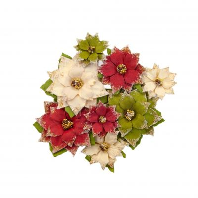 Prima Marketing Mulberry Paper Flowers Embellishments  Christmas In The Country - Tidings