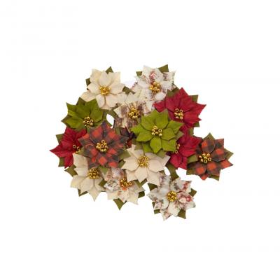 Prima Marketing Mulberry Paper Flowers Embellishments  Christmas In The Country - Winter Wonderland