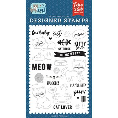 Echo Park I Love My Cat Clear Stamps - Kitty Love