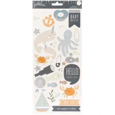Pebbles Night Night Stickers - Boy Silver Foil