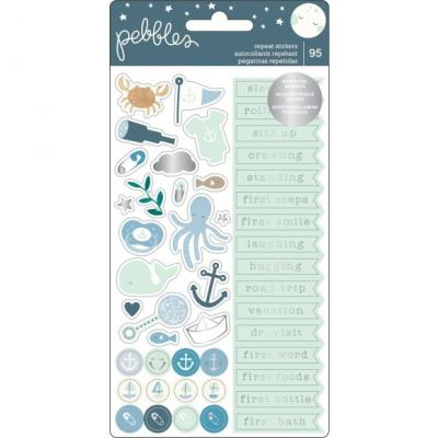 Pebbles Night Night Stikers - Repeat Boy Silver Foil