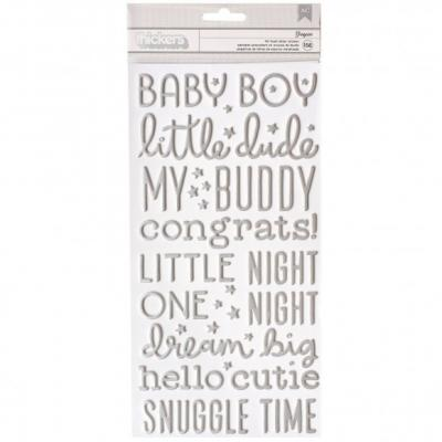 Pebbles Night Night Stickers - Thickers Boy Silver Foil