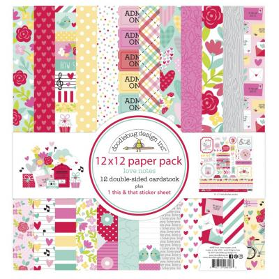 Doodlebug Love Notes Designpapier - Paper Pack