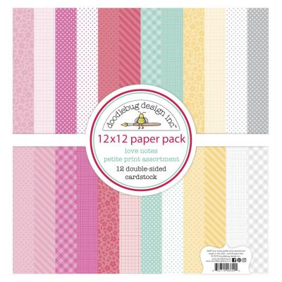 Doodlebug Love Notes Designpapier - Petite Print Assortment