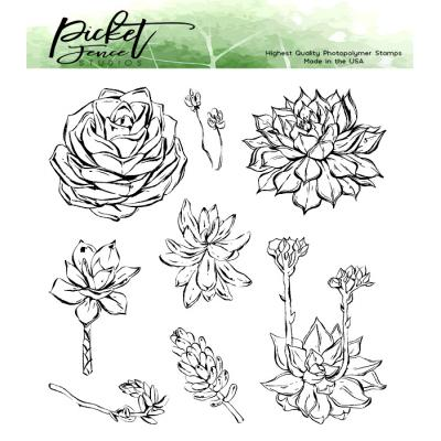 Picket Fence Studios Clear Stamps - Succulent Blossoms