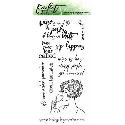 Picket Fence Studios Clear Stamps - Sip Happens