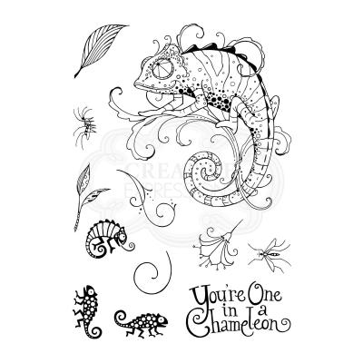 Creative Expressions Pink Ink Clear Stamps - Chameleon