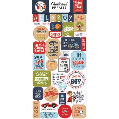 Echo Park All Boy Stickerbogen - Chipboard Phrases