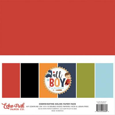 Echo Park All Boy Cardstock - Solids Kit