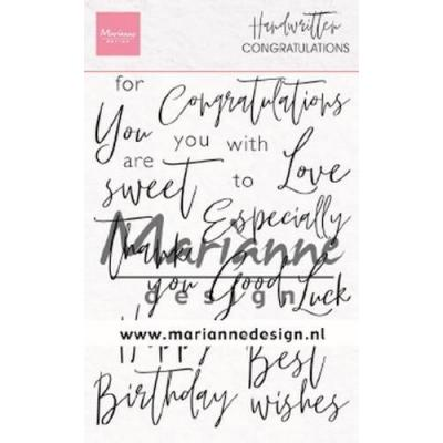 Marianne Design Clear Stamps - Handwritten Congratulations