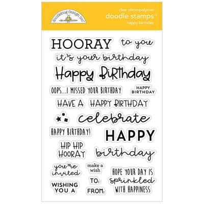 Doodlebug Design Doodle Clear Stamps - Happy Birthday