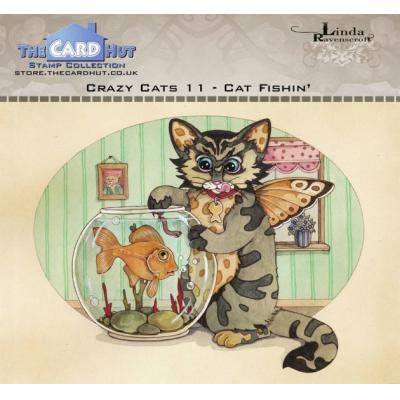 The Card Hut Crazy Cats Clear Stamps - Cat Fishin'