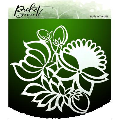 Picket Fence Studios Stencil - Leaves and Flowers