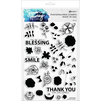 Simon Hurley Create Cling Stamps - Doodle Florals