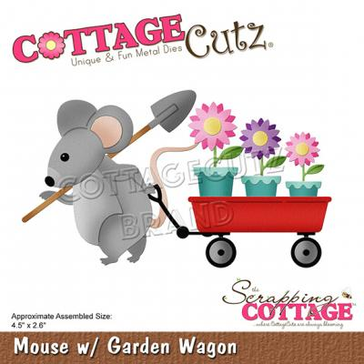 CottageCutz Scrapping Cottage Dies - Mouse with Garden Wagon