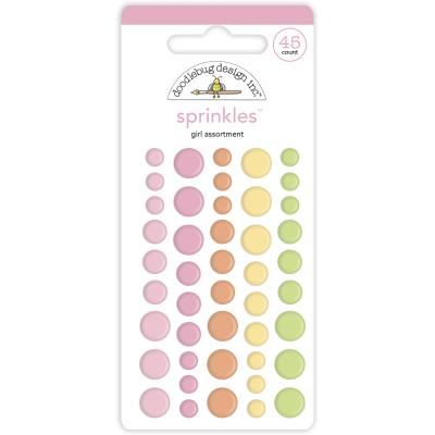 Doodlebug Baby Girl Enamel Dots - Assortment Sprinkles