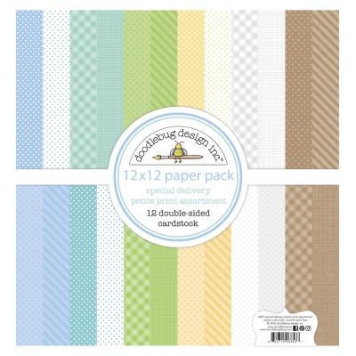 Doodlebug Baby Boy Designpapier - Petite Print Assortment Pack