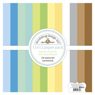 Doodlebug Baby Boy Cardstock- Textured Cardstock Assortment Pack