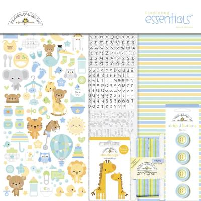 Doodlebug Baby Boy Scapbook Set - Essentials Kit