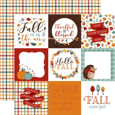 Echo Park Happy Fall Designpapier - 4 x 4 Journaling Cards