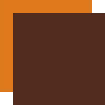 Echo Park Happy Fall Cardstock - Brown-Dark Orange