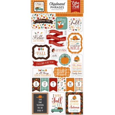 Echo Park Happy Fall Sticker - Chipboard Phrases