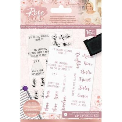 Crafter's Companion Rose Gold Clear Stamps - Interchangeable Sentiments