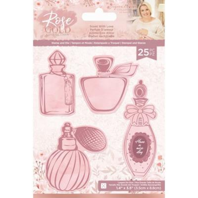 Crafter's Companion Rose Gold Clear Stamps And Dies - Scent with Love