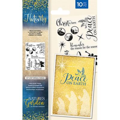 Crafter's Companion Nativity Clear Stamps - Peace On Earth