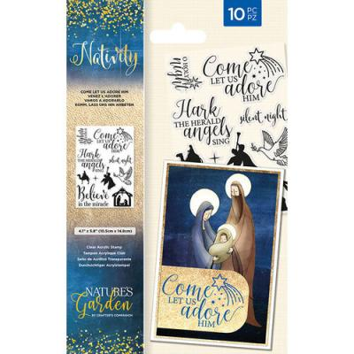 Crafter's Companion Nativity Clear Stamps - Let Us Adore Him