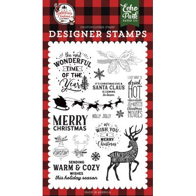 Echo Park A Lumberjack Christmas Clear Stamps - Warm and Cozy Wishes