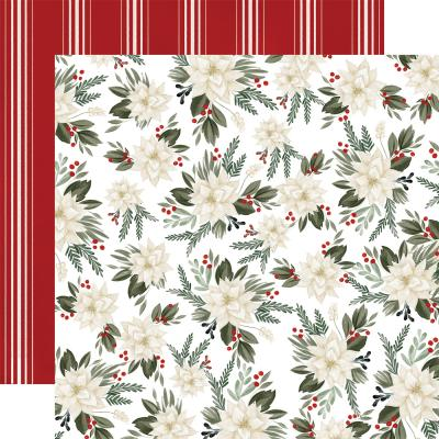 Carta Bella Farmhouse Christmas Designpapier - Poinsettia Floral
