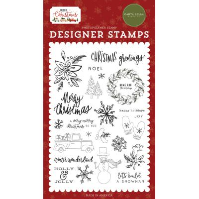 Carta Bella Hello Christmas Clear Stamps - Christmas Greetings