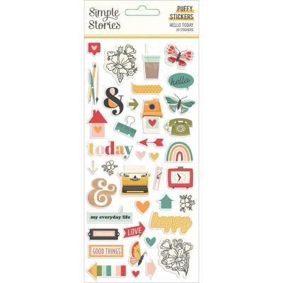 Simple Stories Hello Today - Puffy Stickers