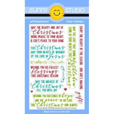 Sunny Studio Clear Stamps - Inside Greetings Christmas