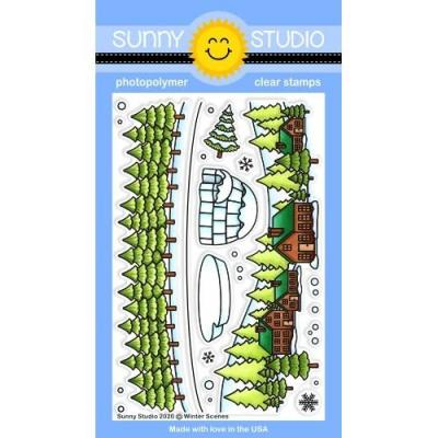 Sunny Studio Clear Stamps - Winter Scenes