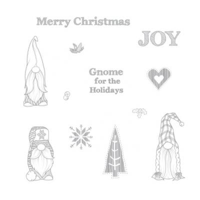 Fun Stampers Journey Rubber Stamps - Gnome for the Holidays