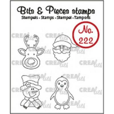 Crealies Clear Stamps - Mini-Rentier, Weihnachtsmann, Pinguin no.222