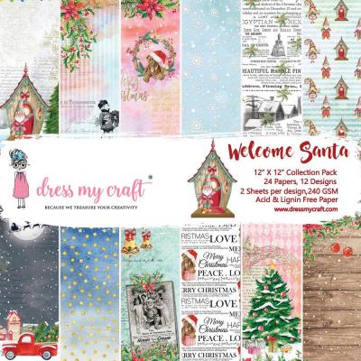 Dress My Crafts Paper Pad Designpapier - Welcome Santa