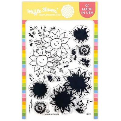 Waffle Flower Clear Stamps - Layered Sunflowers