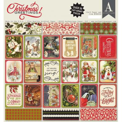 Authentique Christmas Greetings Designpapier - Paper Pad