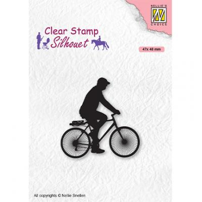 Nellie's Choice Clear Stamp - Silhouettes Men-Things Cyclist