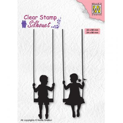 Nellie's Choice Clear Stamps - Silhouettes Boy & Girl Swiging