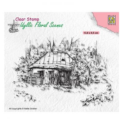 Nellie's Choice Clear Stamp - Idyllic Floral Scenes Old Cottage