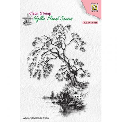 Nellie's Choice Clear Stamp - Idyllic Floral Scenes Tree On Waterside